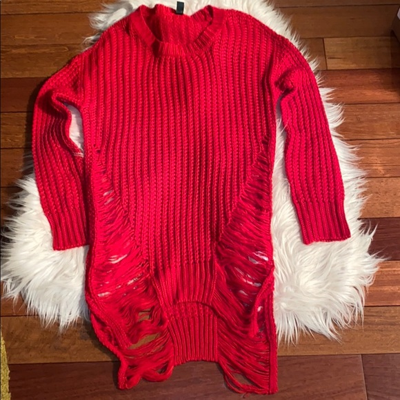 Sweaters - Red distressed knit sweater tunic length